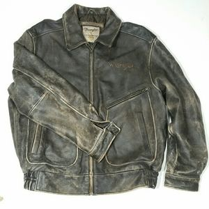 Vintage cowboys wranglers leather jacket patina L